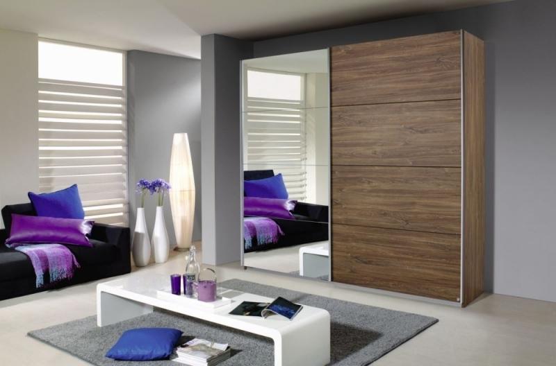 Rauch Quadra 2 Door Mirror Sliding Wardrobe in Oak - W 226cm