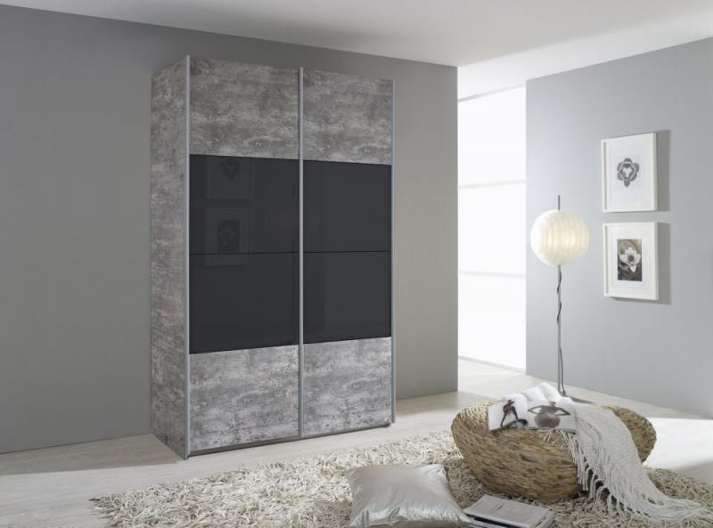 Rauch Quadra 2 Door Sliding Wardrobe in Stone Grey and Basalt Glass - W 136cm