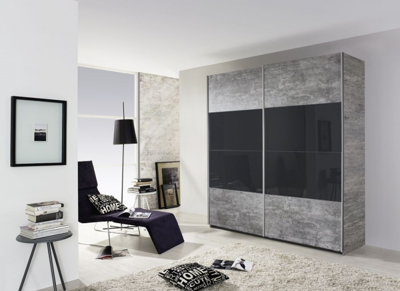 Rauch Quadra 2 Door Sliding Wardrobe in Stone Grey and Basalt Glass - W 181cm