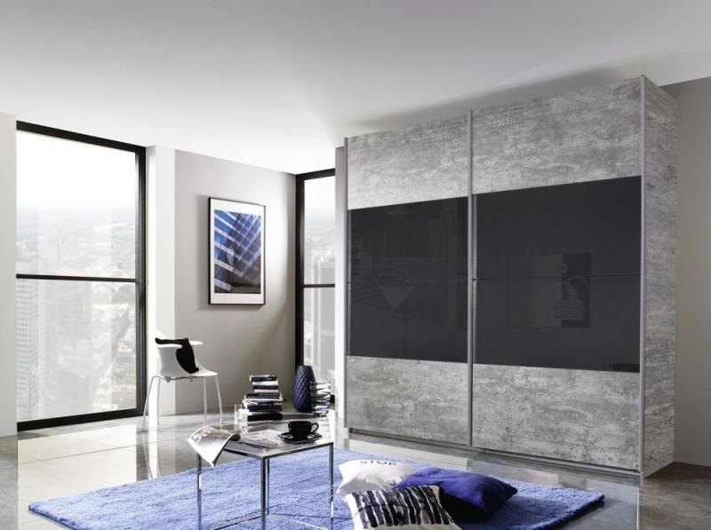 Rauch Quadra 2 Door Sliding Wardrobe in Stone Grey and Basalt Glass - W 226cm
