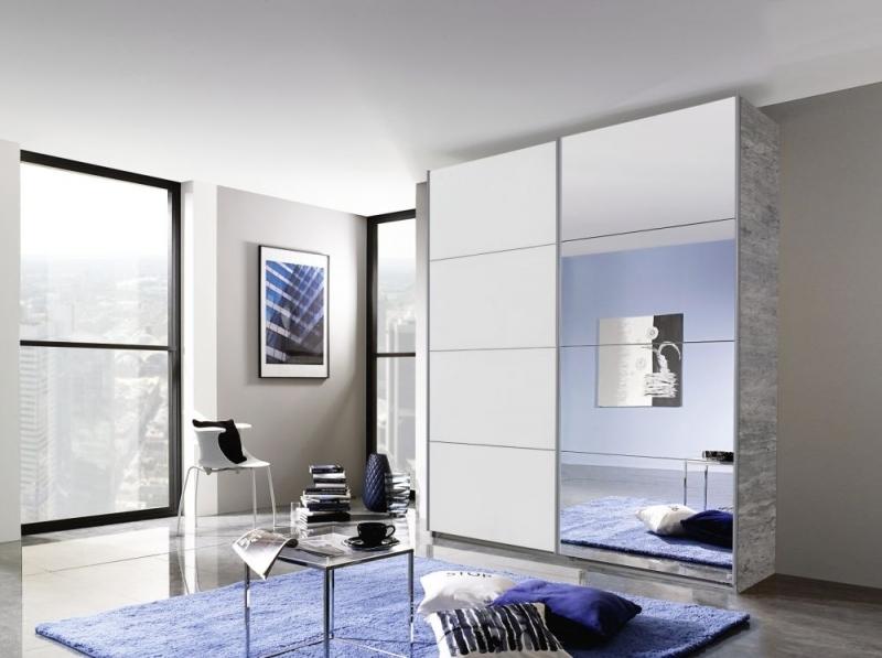 Rauch Quadra 2 Door Mirror Sliding Wardrobe in Stone Grey and White - W 181cm