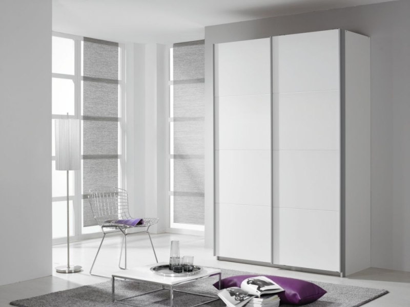 Rauch Quadra 2 Door Sliding Wardrobe in White - W 136cm