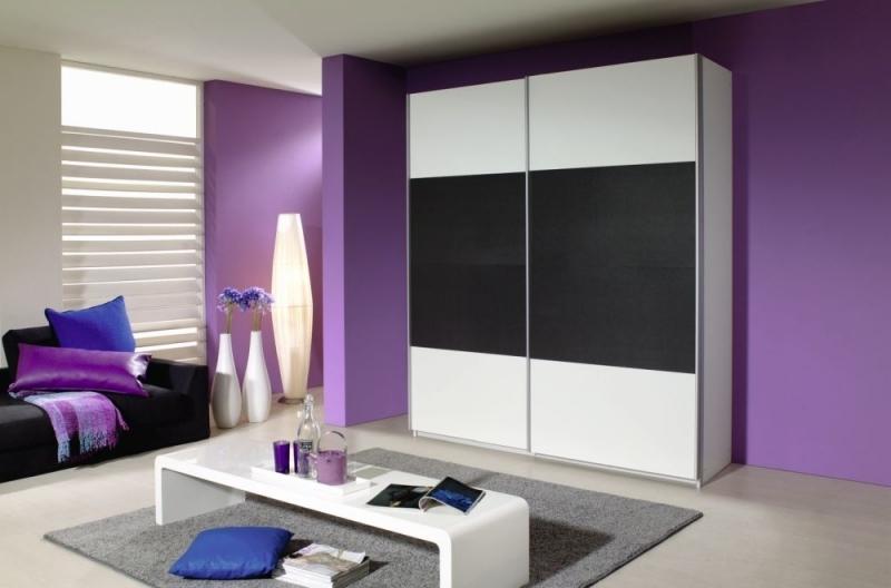 Rauch Quadra 2 Door Sliding Wardrobe in White and Metallic Grey - W 181cm