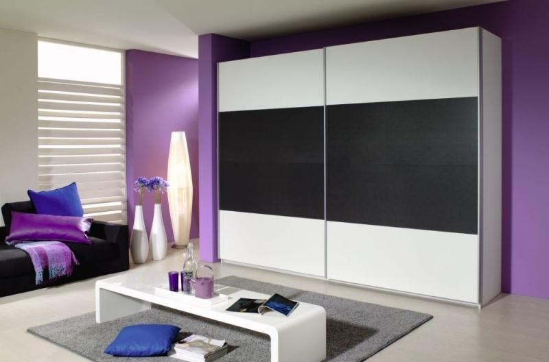 Rauch Quadra 2 Door Sliding Wardrobe in White and Metallic Grey - W 271cm