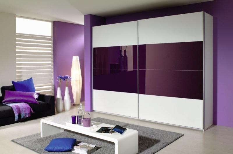 Rauch Quadra 2 Door Sliding Wardrobe in White and Blackberry Glass - W 271cm