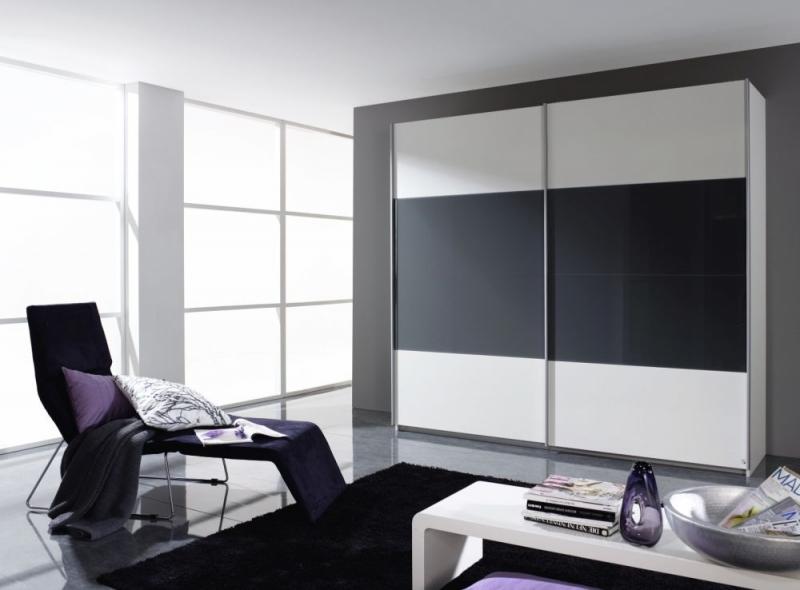 Rauch Quadra 2 Door Sliding Wardrobe in White and Dark Grey - W 226cm