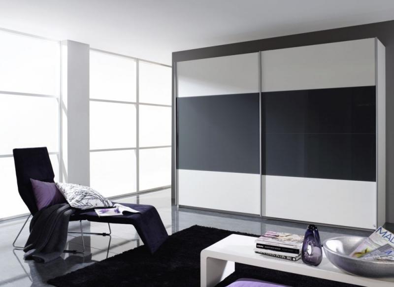 Rauch Quadra 2 Door Sliding Wardrobe in White and Dark Grey - W 271cm
