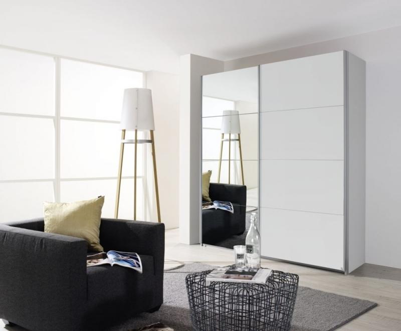 Rauch Quadra 2 Door Mirror Sliding Wardrobe in White - W 181cm
