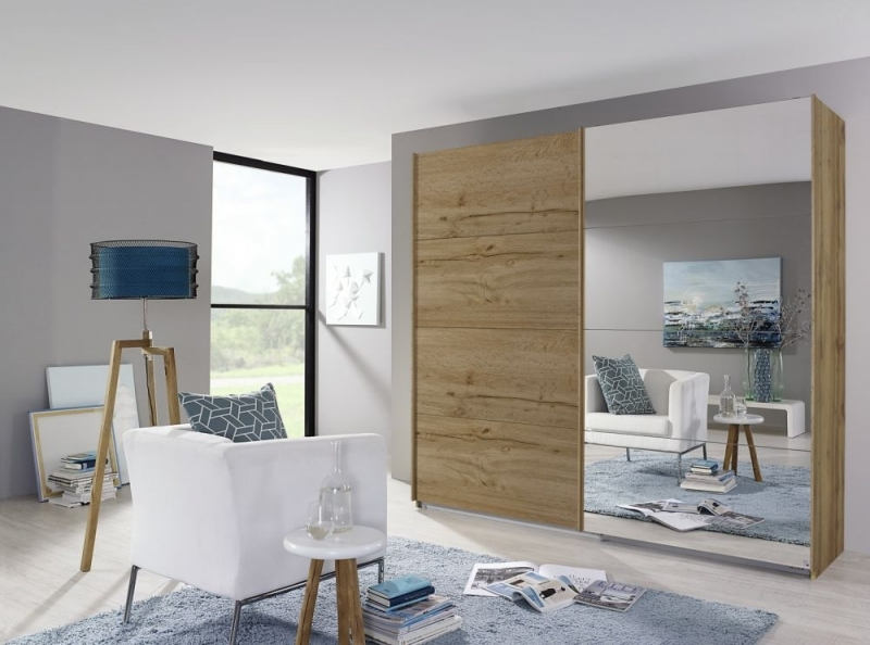 Rauch Quadra 2 Door Mirror Sliding Wardrobe in Wotan Oak - W 226cm