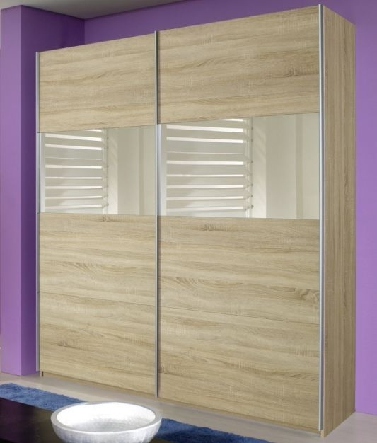 Product photograph showing Rauch Quadra 3 Door 1 Mirror Sliding Wardrobe In Sonoma Oak - W 315cm H 229cm