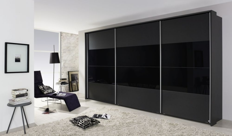 Rauch Quadra 3 Door Sliding Wardrobe in Metallic Grey and Black Glass - W 315cm