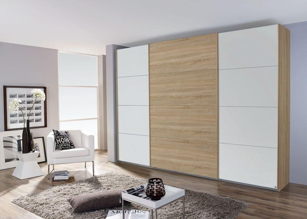 Rauch Quadra 3 Door Sliding Wardrobe in Oak and White - W 315cm