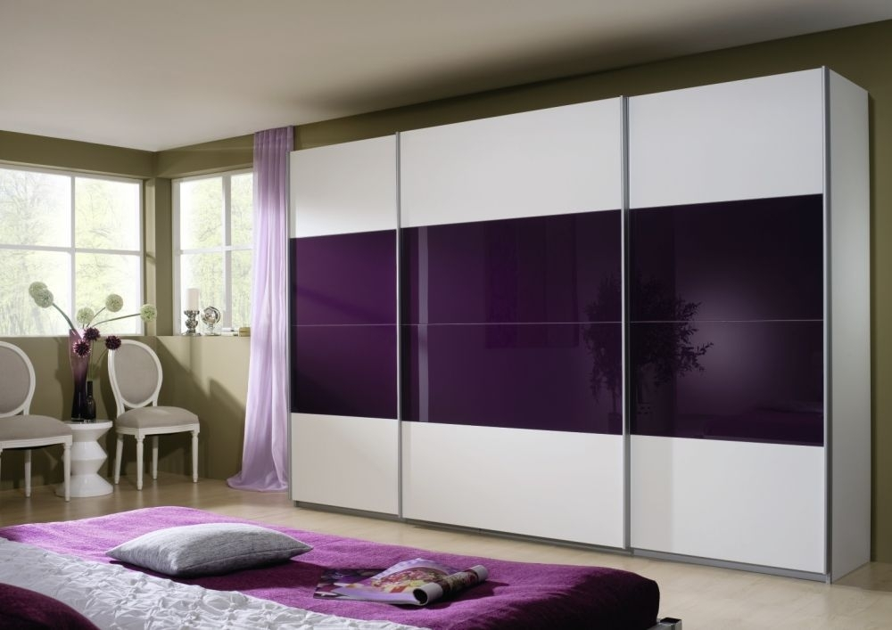 Rauch Quadra 3 Door Sliding Wardrobe in White and Blackberry Glass - W 315cm