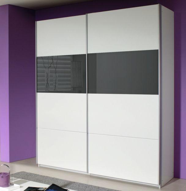 Rauch Quadra Alpine White with Basalt Glass Overlay 2 Door Sliding Wardrobe - W 136cm