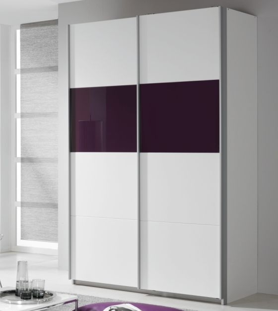 Rauch Quadra Alpine White with Blackberry Glass Overlay 2 Door Sliding Wardrobe - W 136cm