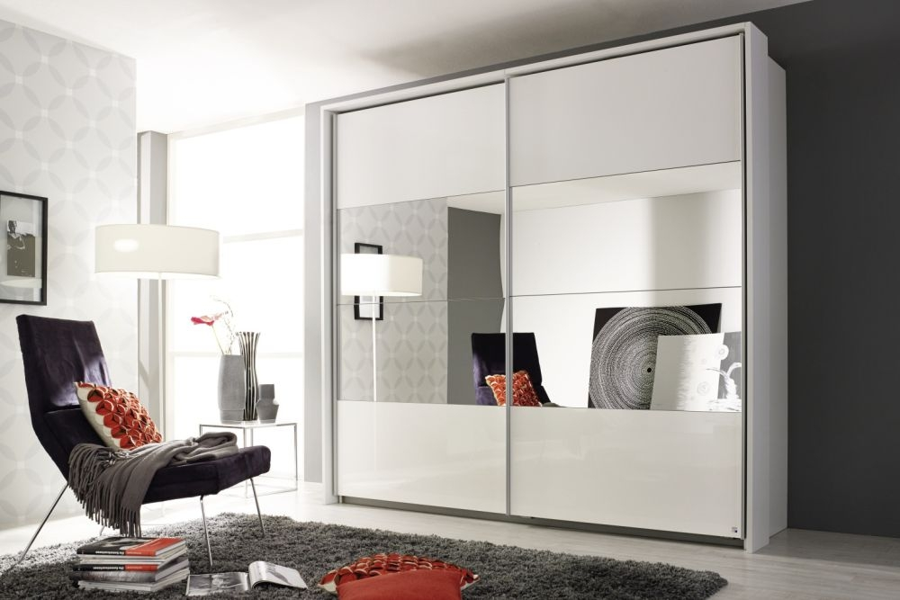 Rauch Quadra Alpine White with Center Mirror 2 Door Sliding Wardrobe - W 136cm