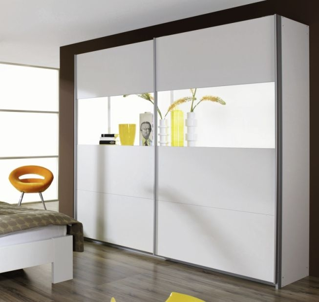 Rauch Quadra Alpine White with Mirror 3 Door Sliding Wardrobe - W 315cm