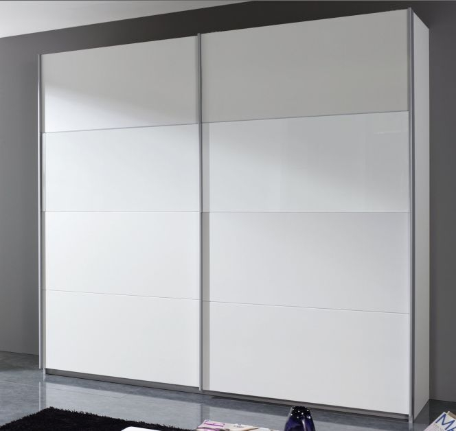 Rauch Quadra Alpine White with White Glass Overlay 2 Door Sliding Wardrobe - W 136cm