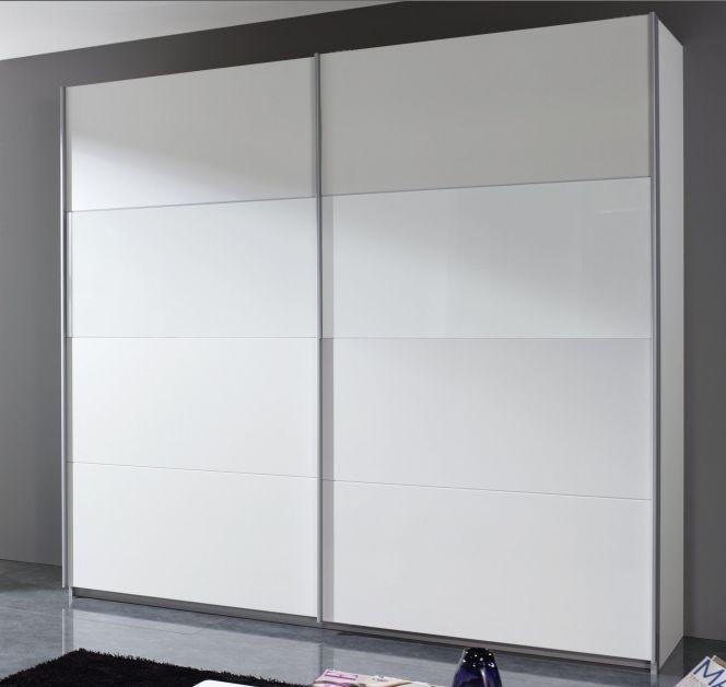 Rauch Quadra Alpine White with White Glass Overlay 2 Door Sliding Wardrobe with Aluminium Handle Strips - W 136cm