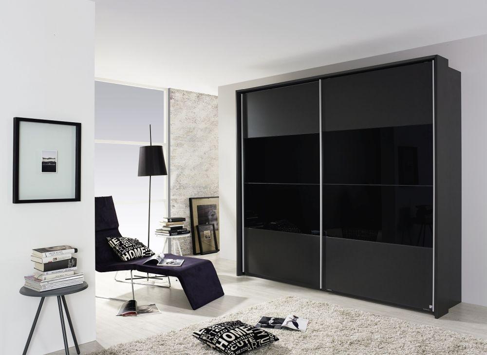 Rauch Quadra Metallic Grey with Black Glass Center 2 Door Sliding Wardrobe - W 136cm