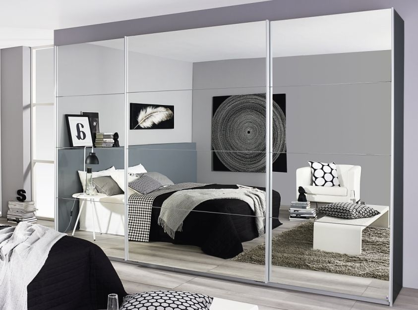 Rauch Quadra Metallic Grey with Full Mirror 3 Door Sliding Wardrobe - W 315cm