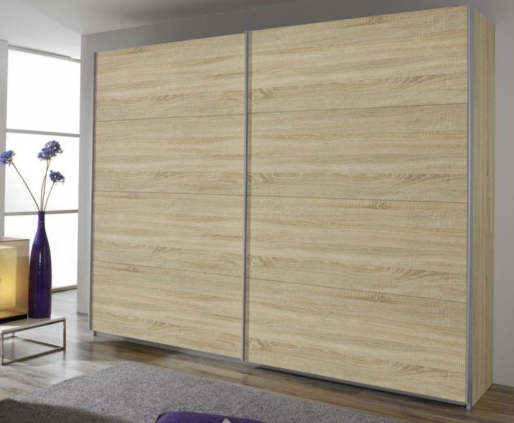 Rauch Quadra Sonoma Oak with 2 Door Sliding Wardrobe with Aluminium Handle Strips - W 136cm