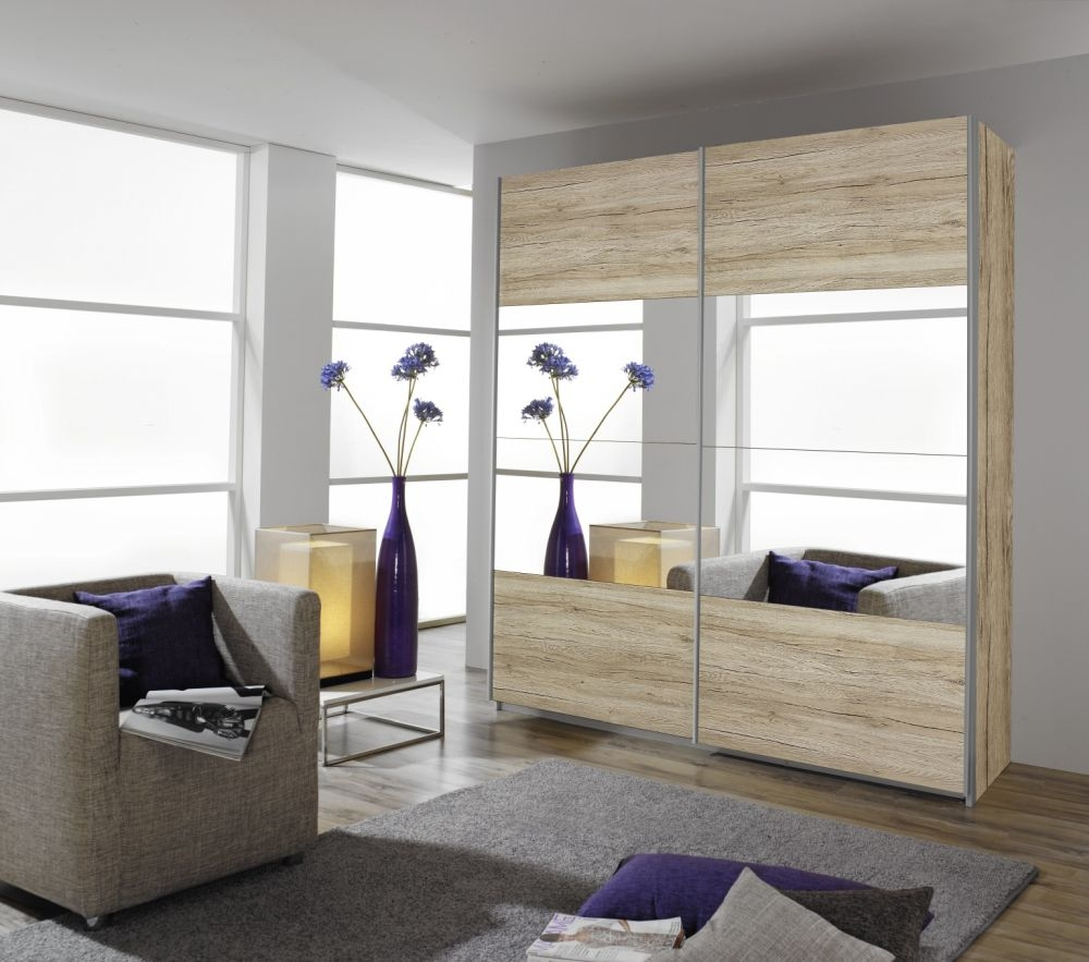 Rauch Quadra Sonoma Oak with Center Mirror 2 Door Sliding Wardrobe - W 136cm