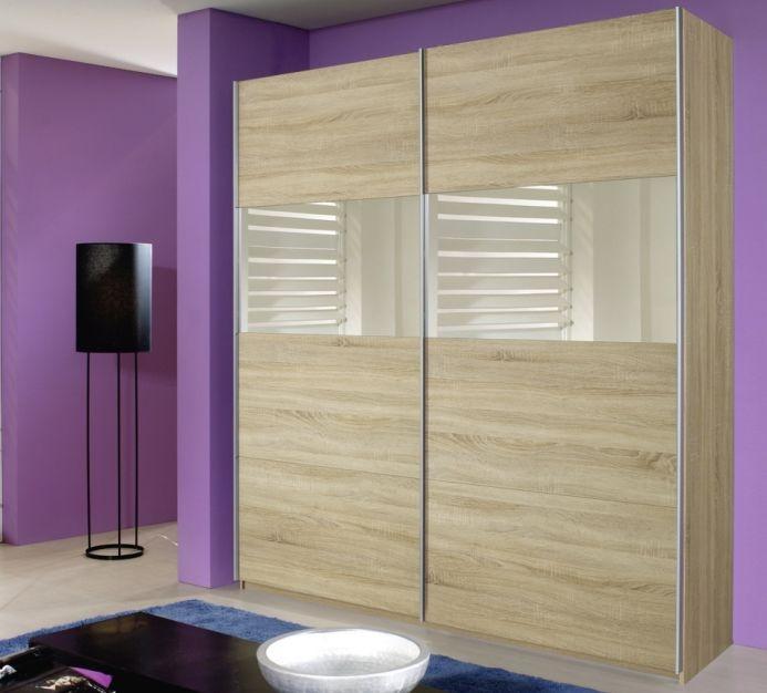 Rauch Quadra Sonoma Oak with Mirror 2 Door Sliding Wardrobe - W 136cm