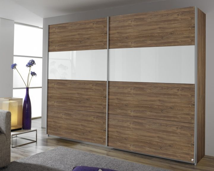 Rauch Quadra Stirling Oak with White Glass Overlay 2 Door Sliding Wardrobe with Aluminium Handle Strips - W 136cm