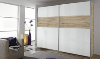 Rauch Quadra Extra Sliding Wardrobe - Front High Polish and Application Wood Decor