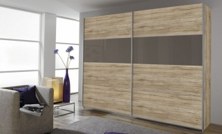 Rauch Quadra Extra Sliding Wardrobe - Front Wood Decor and Application High Polish