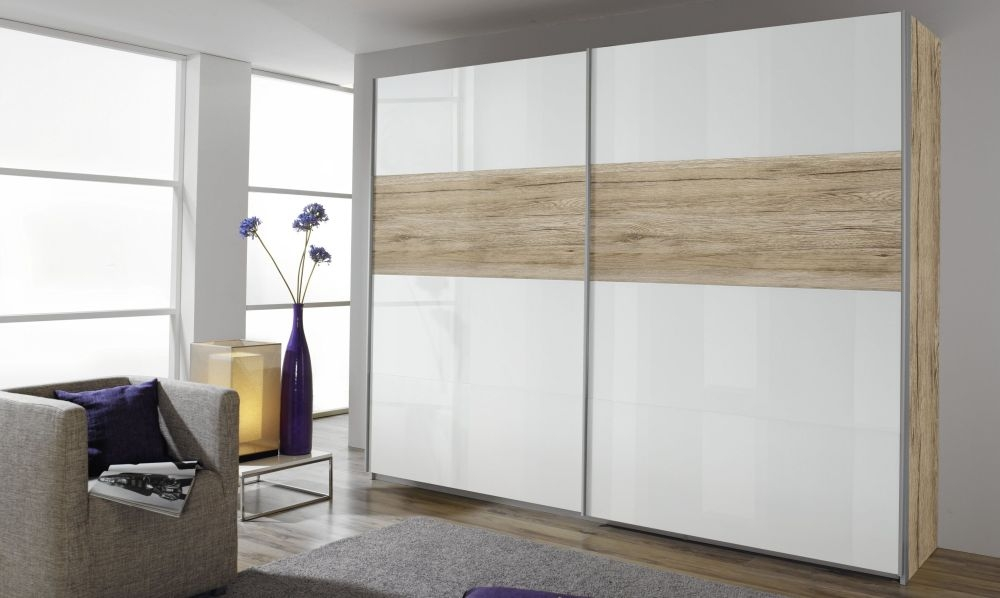 Rauch Quadra Extra Sliding Wardrobe - Front High Polish and Application Wood Decor