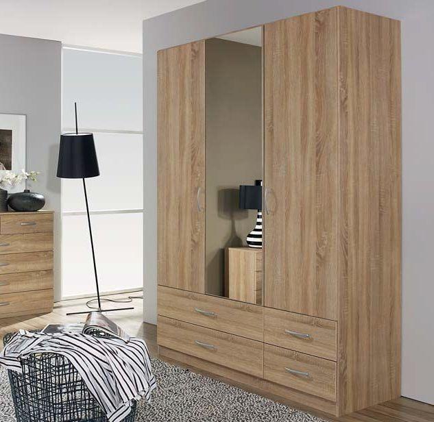 Rauch Quick4you Sonoma Oak 3 Door 4 Drawer Combi Wardrobe with 1 Mirror - W 136cm