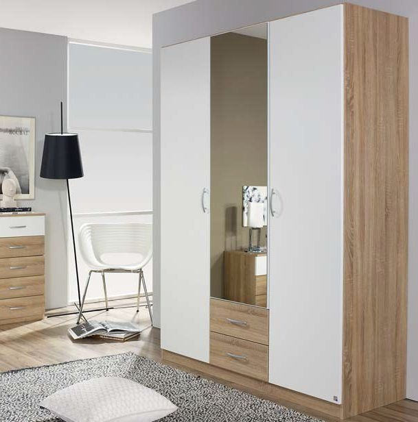 Rauch QuickExtra4you 2 Door 2 Drawer 1 Mirror Combi Wardrobe in Sonama Oak and Alpine White - W 91cm