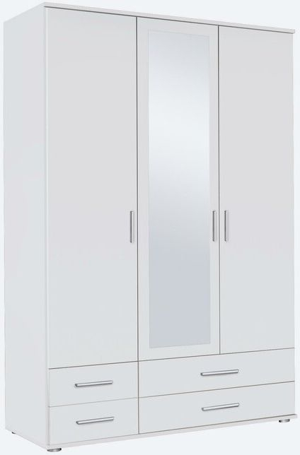 Rauch Rasant 3 Door 4 Drawer Combi Mirror Wardrobe in Alpine White - W 127cm