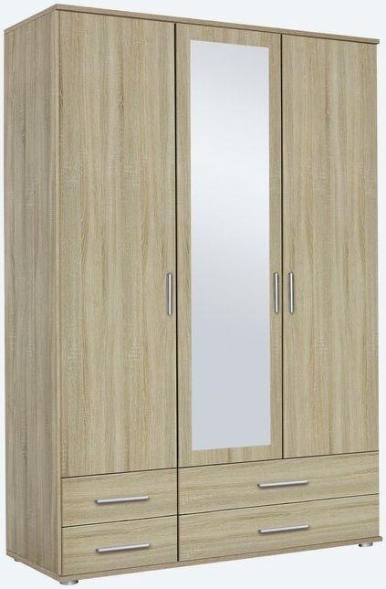 Rauch Rasant 3 Door 4 Drawer Combi Mirror Wardrobe in Sonoma Oak - W 127cm