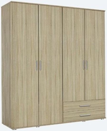 Rauch Rasant 4 Door 2 Drawer Combi Wardrobe in Sonoma Oak - W 168cm