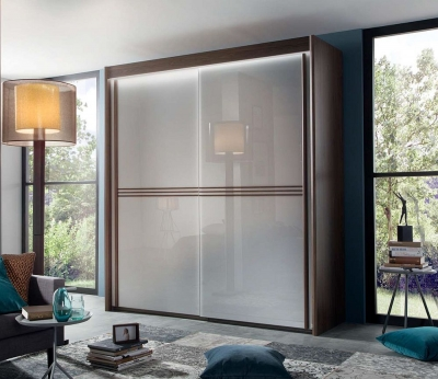 Rauch Ravello 2 Door Sliding Wardrobe in Royal Walnut and Silk Grey Glass - W 201cm