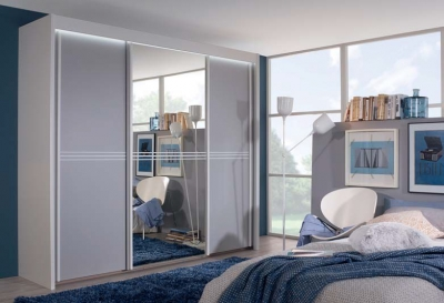 Rauch Ravello 3 Door Sliding Wardrobe in White and Silk Grey - W 225cm