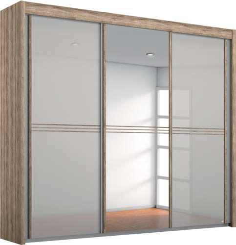 Rauch Ravello 2 Door 1 Mirror Sliding Wardrobe in Sanremo Oak Light and Glass Silk Grey - W 201cm H 235cm