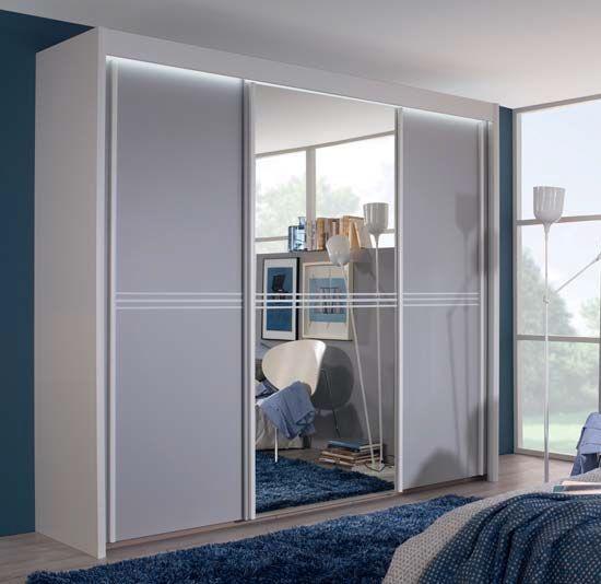 Rauch Ravello 3 Door 1 Mirror Sliding Wardrobe in Silk Grey - W 225cm H 223cm