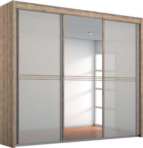 Rauch Ravello 4 Door 2 Mirror Sliding Wardrobe in Sanremo Oak Light and Glass Silk Grey - W 350cm H 223cm