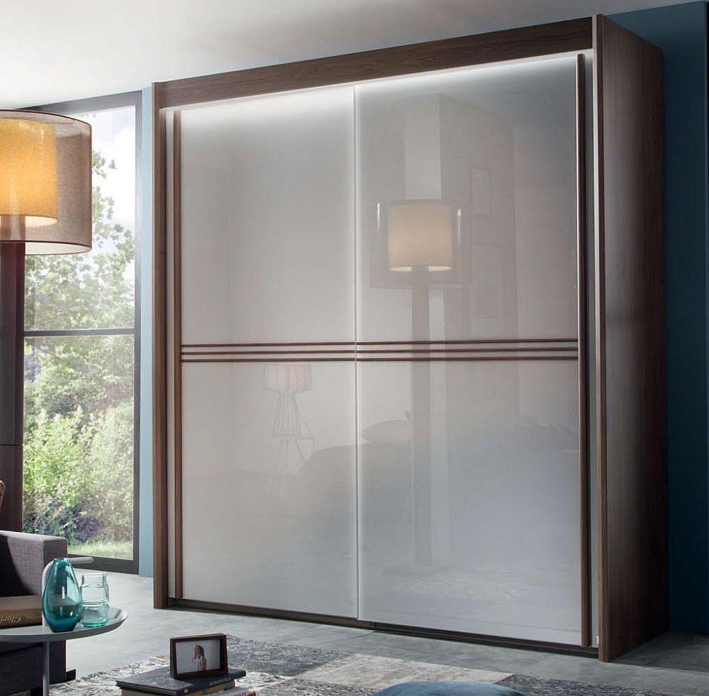 Rauch Ravello 4 Door Sliding Wardrobe in Royal Walnut and Glass Silk Grey - W 350cm H 235cm