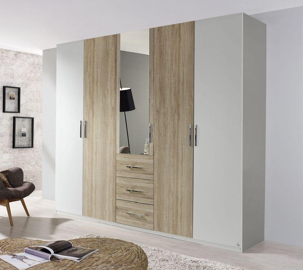 Rauch Renata 3 Door 1 Mirror Wardrobe in Silk Grey with Sanremo Oak Light