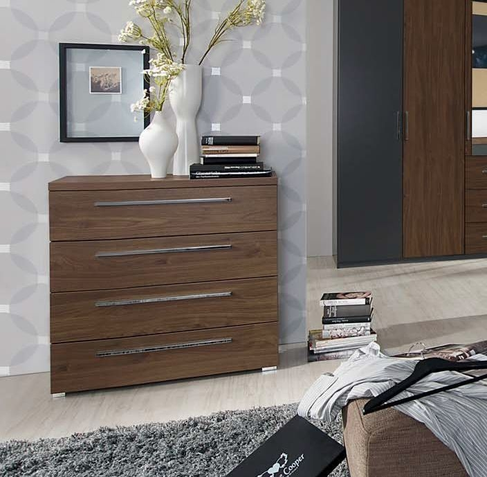 Rauch Renata 4 Drawer Chest in Graphite and Royal Walnut