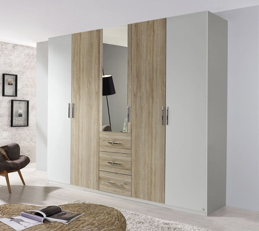 Rauch Renata 5 Door 1 Mirror 3 Drawer Combi Wardrobe in Silk Grey with Sanremo Oak Light