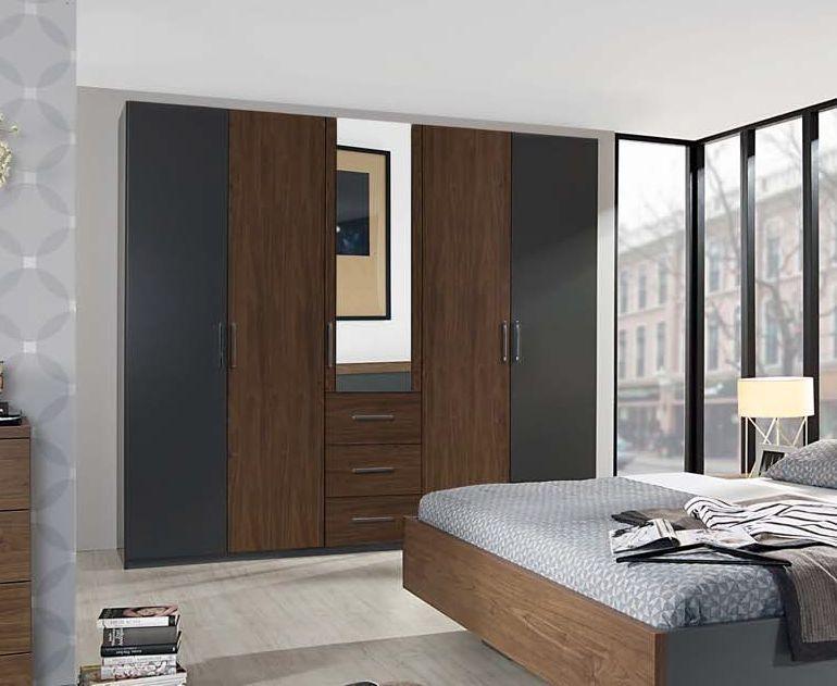 Rauch Renata 5 Door 3 Drawer Combi Wardrobe in Graphite with Royal Walnut