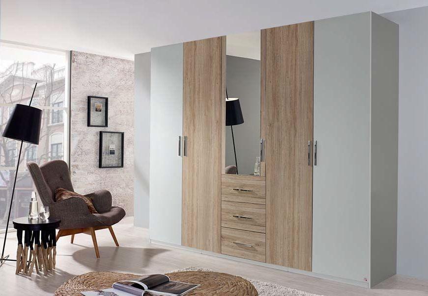 Rauch Renata 5 Door Combi Wardrobe in Silk Grey and Oak - W 251cm