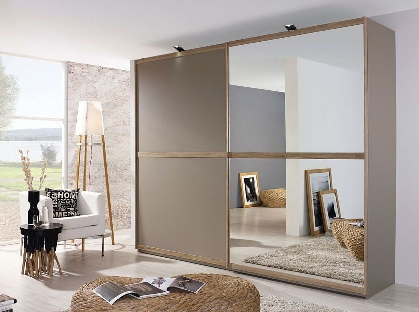 Rauch Renata Fango with Sanremo Oak 2 Door Sliding Wardrobe with Mirror - W 181cm