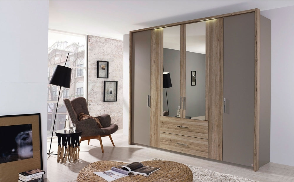 Rauch Renata 6 Door 2 Drawer 2 Mirror Combi Wardrobe in Fango with Sanremo Oak Light
